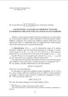 Asymptotic analysis of minimum volume confidence regions for location-scale families
