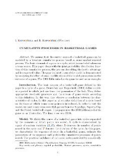 Cumulative processes in basketball games