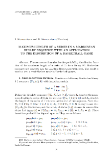 Maximum length of a series in a Markovian binary sequence with an application to the description of a basketball game