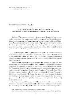 On two-point Nash equilibria in bimatrix games with convexity properties