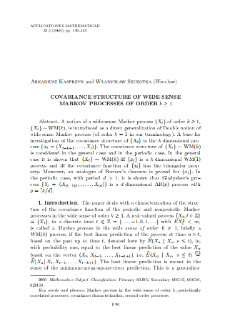Covariance structure of wide-sense Markov processes of order k≥1