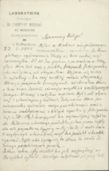 List Marcelego Nenckiego (1847-1901) do Leona Marchlewskiego (1869-1946) z 23.05.1901
