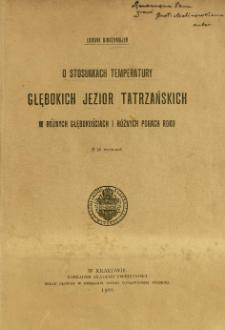 O stosunkach temperatury głębokich jezior tatrzańskich w różnych głębokościach i różnych porach roku