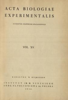Acta Biologiae Experimentalis. Vol. XV