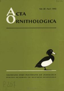 Acta Ornithologica ; vol. 25, no 3 - Spis treści