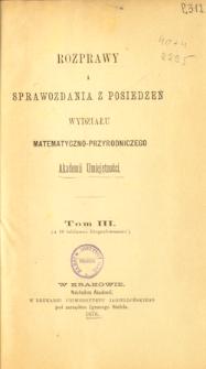 Rozprawy i Sprawozdania z Posiedzeń Wydziału Matematyczno-Przyrodniczego Akademii Umiejętności T. 3 (1876), Spis treści i dodatki