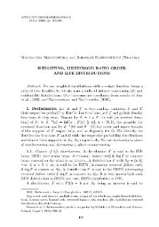 Weighting, likelihood ratio order and life distributions