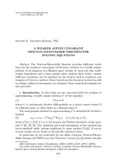 A weaker affine covariant Newton–Mysovskikh theorem for solving equations