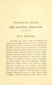 Porównawcze badania nad wzrostem pływaczów (Utricularia)