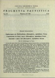 Ergänzungen zur Blattlausfauna (Homoptera, Aphididae) Polens = Uzupełnienia do fauny mszyc (Homoptera, Aphididae) Polski