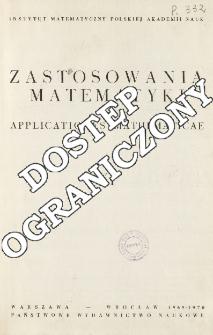 Zastosowania Matematyki = Applicationes Mathematicae, Spis treści i dodatki. T.11 (1969-1970)