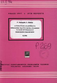 Automatyczna klasyfikacja spółgłosek trących języka polskiego na bazie optymalizacji przestrzeni parametrów