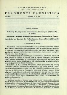Materiały do znajomości rozmieszczenia krocionogów (Diplopoda) w Polsce = Materialy k poznaniû rasprostraneniâ mnogonožek (Diplopoda) v Pol'še