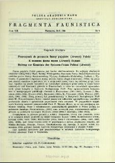 Przyczynek do poznania fauny pająków (Aranei) Polski = K poznaniû fauny paukov (Aranei) Pol'ši