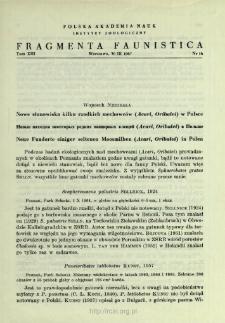 Nowe stanowiska kilku rzadkich mechowców (Acari, Oribatei) w Polsce = Novye nahodki nekotoryh redkih pancirnyh kleŝej (Acari, Oribatei) v Pol'še