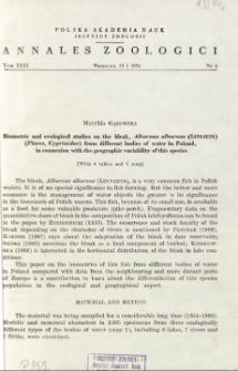 Biometric and ecological studies on the bleak, Alburnus alburnus (Linnaeus) (Pisces, Cyprinidae) from different bodies of water in Poland, in connexion with the geographic variability of this species