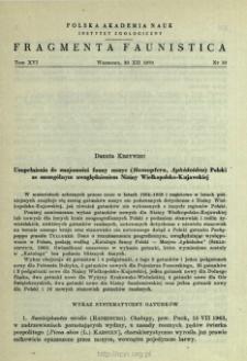 Uzupełnienia do znajomości fauny mszyc (Homoptera, Aphidoidea) Polski ze szczególnym uwzględnieniem Niziny Wielkopolsko-Kujawskiej