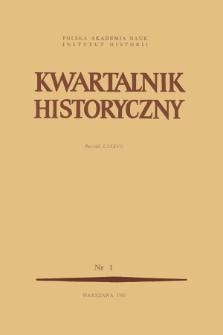 Kwartalnik Historyczny R. 87 nr 1 (1980), Strony tytułowe, Spis treści