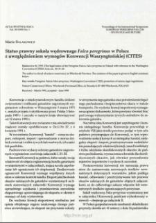 Status prawny sokoła wędrownego Falco peregrinus w Polsce z uwzględnieniem wymogów Konwencji Waszyngtońskiej (CITES)