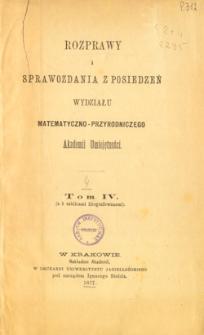 Rozprawy i Sprawozdania z Posiedzeń Wydziału Matematyczno-Przyrodniczego Akademii Umiejętności T. 4 (1877), Table of contents and extras