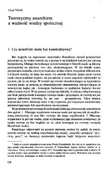 Teoretyczny anarchizm a ważność wiedzy społecznej