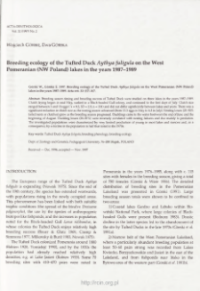 Breeding ecology of the tufted duck Aythya fuligula on the West Pomeranian (NW Poland) lakes in the years 1987-1989