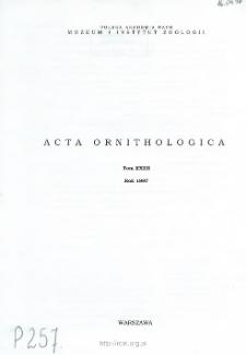 Acta Ornithologica ; vol. 32 - Spis treści