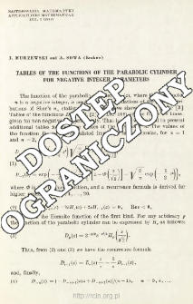 Tables of the functions of the parabolic cylinder for negative integer parameters