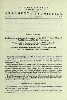 Ergebnisse der zoologischen Forschungen von Dr. Z. Kaszab in der Mongolei. Nr. 170. Coccinellidae 4 (Coleoptera) = Wyniki badań zoologicznych Dra Z. Kaszaba w Mongolii. Nr. 170. Coccinellidae 4 (Coleoptera)