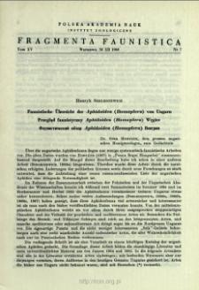 Przegląd faunistyczny Aphidoidea (Homoptera) Węgier = Faunistische Übersicht der Aphidoidea (Homoptera) von Ungarn