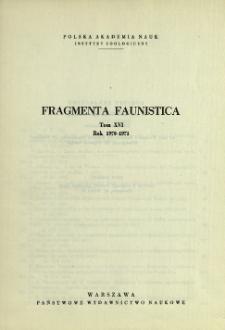 Fragmenta Faunistica - Strony tytułowe, spis treści - t. 18, nr. 1-22 (1972-1973)