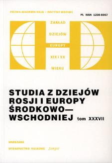 Studia z Dziejów Rosji i Europy Środkowo-Wschodniej. T. 37 (2002), Title pages, Contents