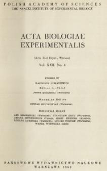 Acta Biologiae Experimentalis. Vol. XXII, No 4, 1962
