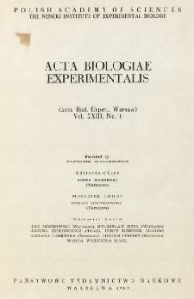 Acta Biologiae Experimentalis. Vol. XXIII, No 1, 1963