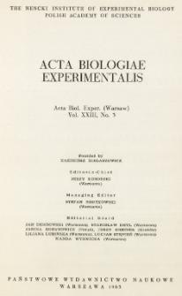 Acta Biologiae Experimentalis. Vol. XXIII, No 3, 1963