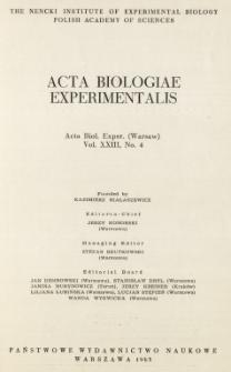 Acta Biologiae Experimentalis. Vol. XXIII, No 4, 1963