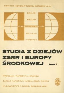 Studia z Dziejów ZSRR i Europy Środkowej. T. 5 (1969), Title pages, Contents