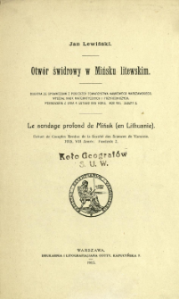 Otwór świdrowy w Mińsku litewskim = Le sondage profond de Mińsk (en Lithuanie)