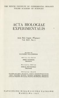 Acta Biologiae Experimentalis. Vol. XXV, No 2, 1965