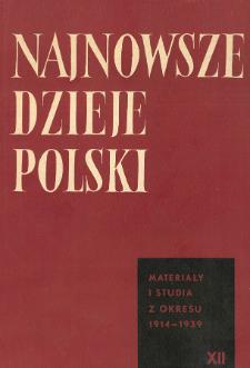 Najnowsze Dzieje Polski : materiały i studia z okresu 1914-1939 T. 12 (1967), Strony tytułowe, Spis treści