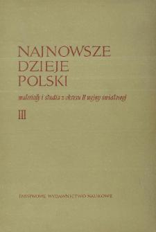 Najnowsze Dzieje Polski : materiały i studia z okresu II wojny światowej T. 3 (1959), Title pages, Contents