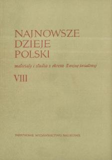 Najnowsze Dzieje Polski : materiały i studia z okresu II wojny światowej T. 8 (1964), Strony tytułowe, Spis treści