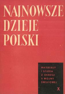 Najnowsze Dzieje Polski : materiały i studia z okresu II wojny światowej T. 10 (1966), Strony tytułowe, Spis treści