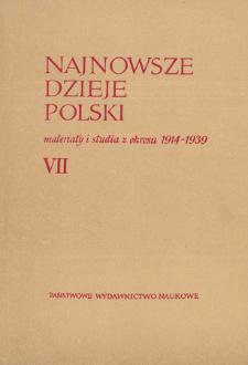 Najnowsze Dzieje Polski : materiały i studia z okresu 1914-1939 T. 7 (1964), Od redakcji
