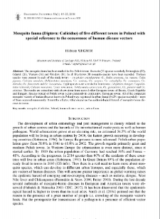 Mosquito fauna (Diptera: Culicidae) of five different towns in Poland with special reference to the occurence of human disease vectors