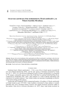 Occurence and threats of the medicinal leech (Hirudo medicinalis L.) in Poland (Annelida: Hirudinea)