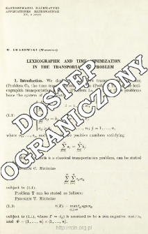 Lexicographic and time minimization in the transportation problem