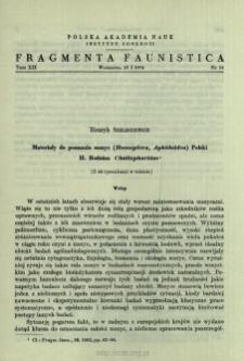 Materiały do poznania mszyc (Homoptera, Aphidoidea) Polski. 2 Rodzina Chaitophoridae