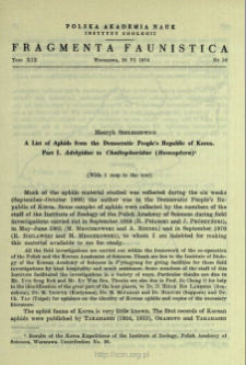 A list of aphids from the Democratic People's Republic of Korea. Pt. 1. Adelgidae to Chaitophoridae (Homoptera)