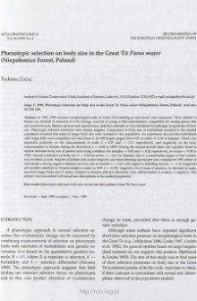 Phenotypic selection on body size in the great tit Parus major (Niepołomice Forest, Poland)